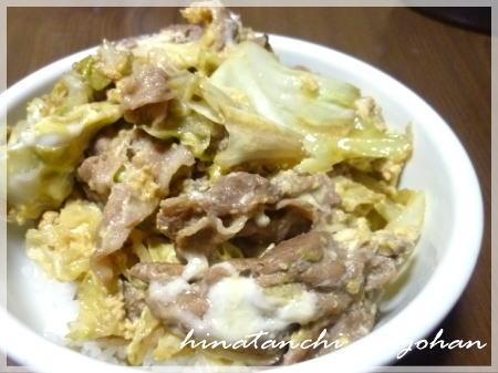 20111212豚キャベ玉丼