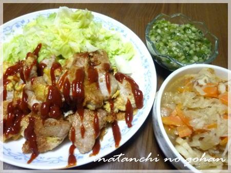 20120117豚ピカタ、切干大根煮