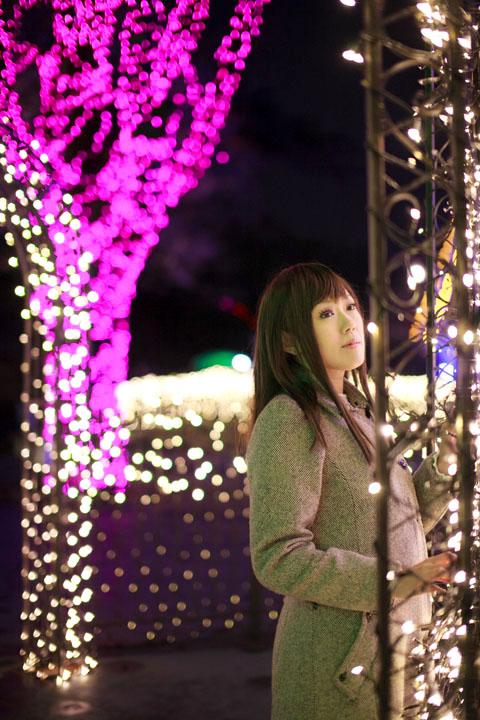 私服ポトレ/夜桜とイルミネーション