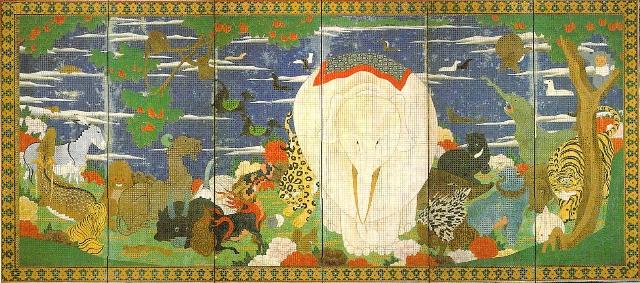鳥獣花木図屏風(右隻)