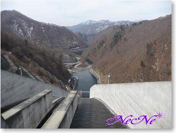 ダムの上から眺望