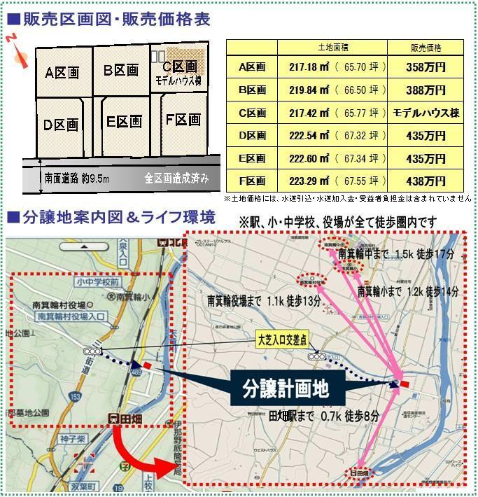 田畑分譲価格表・案内図