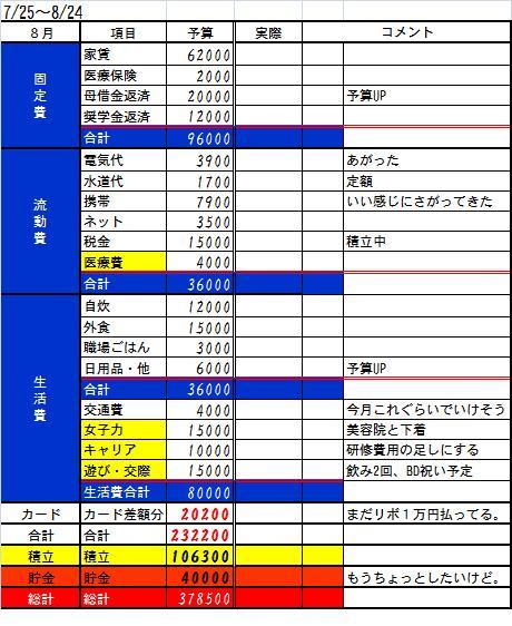 2013.8月予算