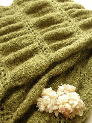 ギャザー編みのショールマフラー02