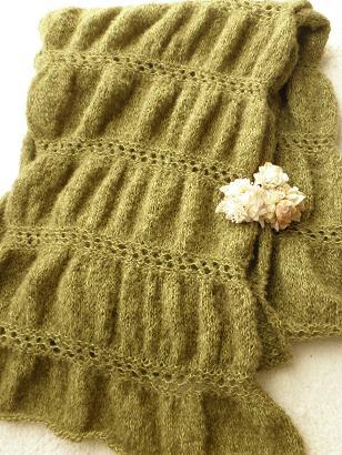 ギャザー編みのショールマフラー06