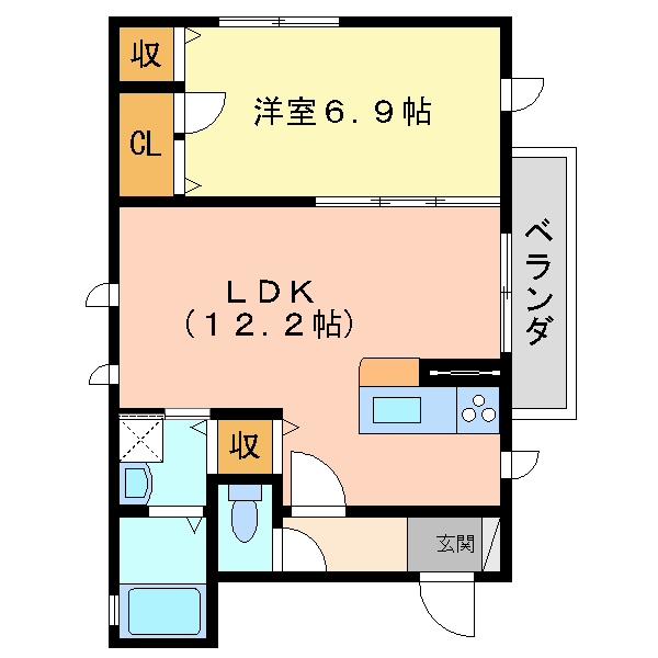 仮称シャーメゾン東桜木 201間取り