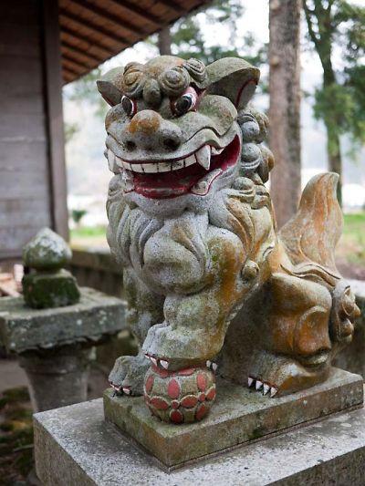 松崎町 伊那上神社 狛犬 阿