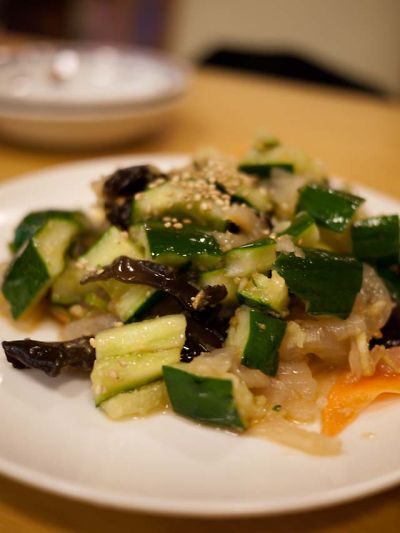 香林酒家 きゅうりとクラゲの和え物