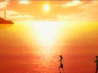 夕日の海を…