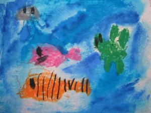 手漉き紙に魚・葵