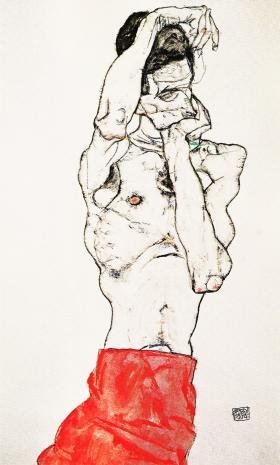 赤い腰布をまいた男性ヌード1914年_convert_20100713174057