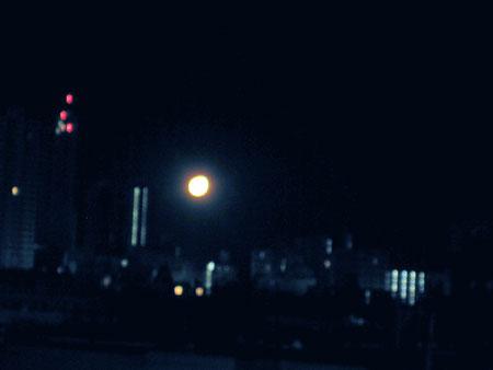 明け方の月が大きい