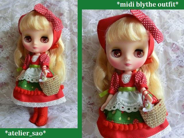 ◆ミディブライス服・靴◆赤ずきんちゃん☆きのこの森へ1set◇