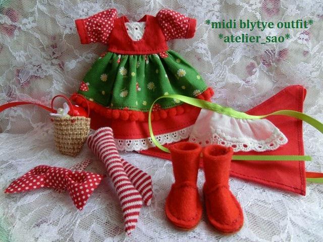 ◆ミディブライス服・靴◆赤ずきんちゃん☆きのこの森へ3set◇