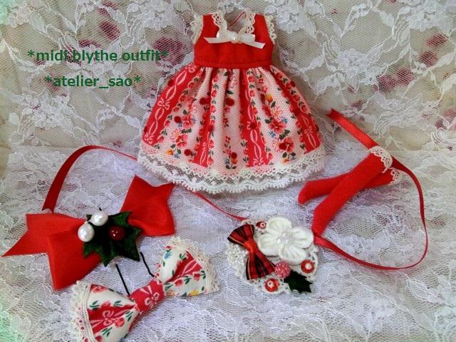 ◆ミディブライス服◆赤と白のナチュラル☆クリスマスset◇3