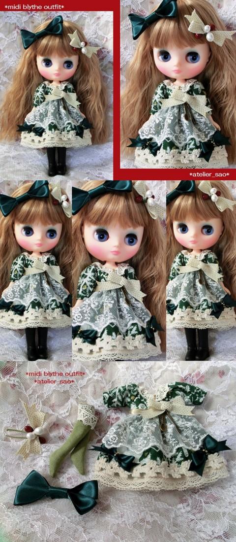 ◆ミディブライス服◆クリスマスの森☆グリーンドレスset◇