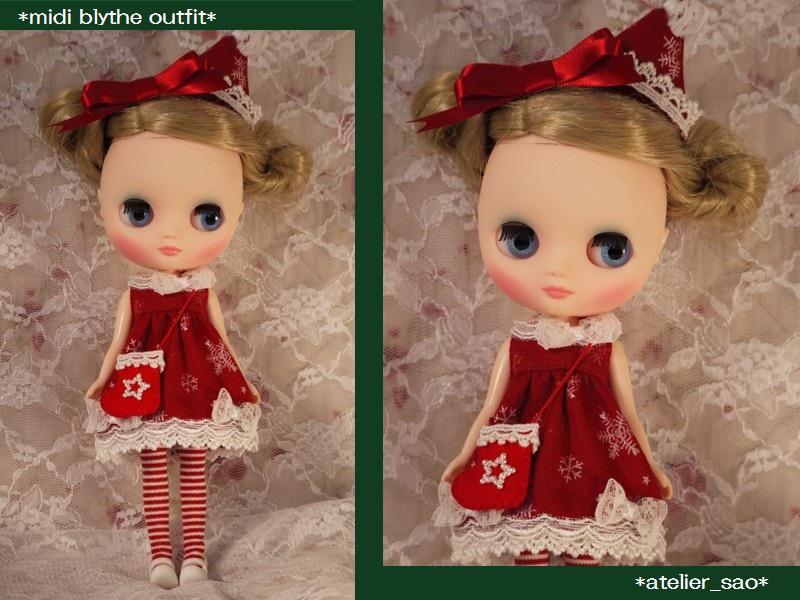 ◆ミディブライス服◆クリスマス☆赤と白リボン☆サンタワンピ◆23