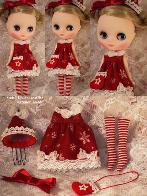 ◆ミディブライス服◆クリスマス☆赤と白リボン☆サンタワンピ◆1