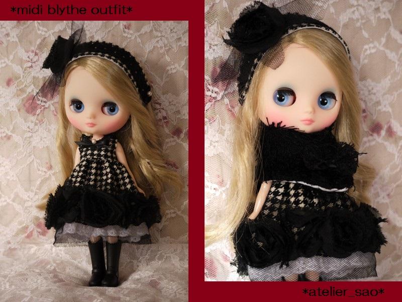 ◆ミディブライス服◆格子柄と黒バラのモノトーンドレスset◇1