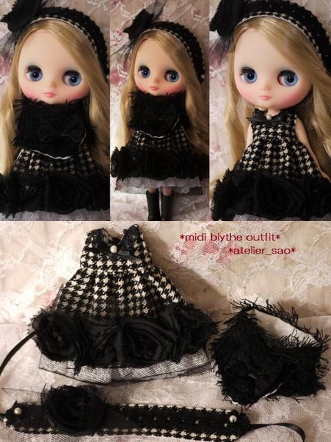◆ミディブライス服◆格子柄と黒バラのモノトーンドレスset◇2