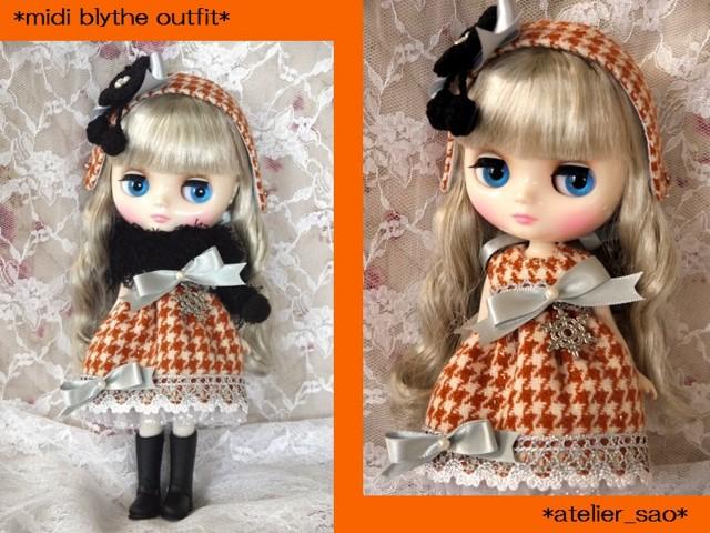 ◆ミディブライス服◆オレンジ格子柄×黒×銀のワンピset◇2