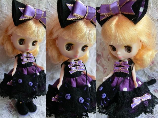 ◆プチブライス服・靴◆ハロウィンの黒猫×紫set◇2