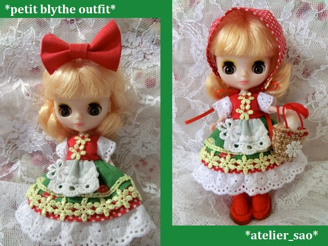 ◆プチブライス服・靴◆赤ずきんちゃん☆きのこの森へ1set◇