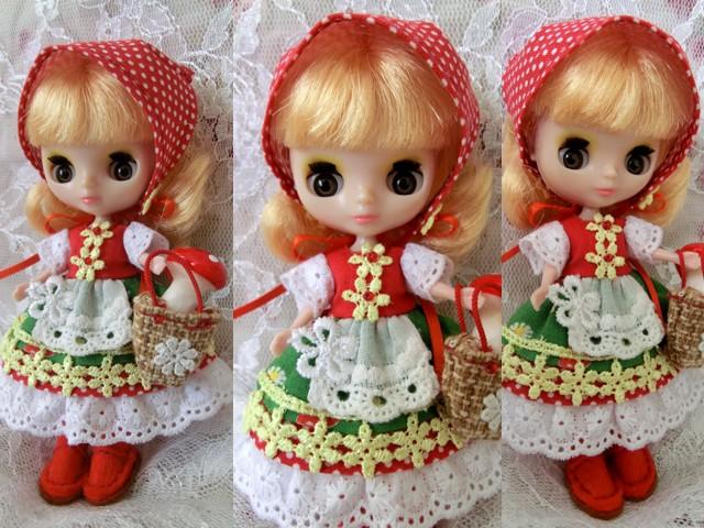 ◆プチブライス服・靴◆赤ずきんちゃん☆きのこの森へ2set◇