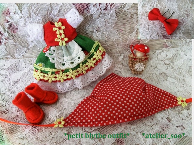 ◆プチブライス服・靴◆赤ずきんちゃん☆きのこの森へ3set◇