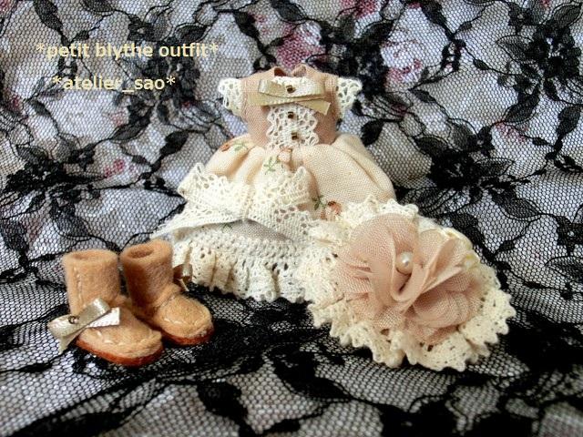 ◆プチブライス服・靴◆ナチュラルベージュなドレスset◇3