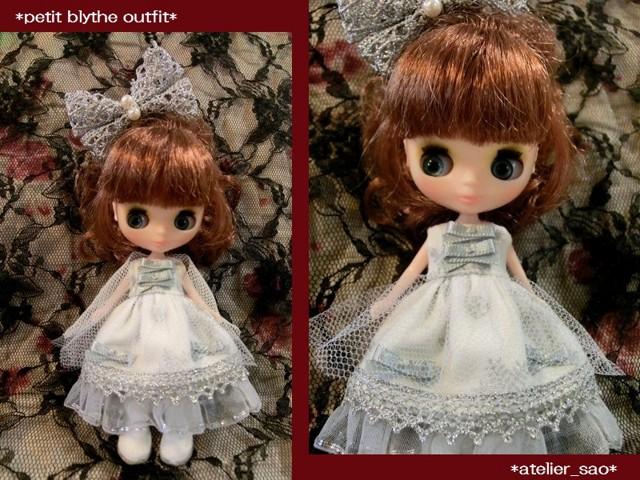 ◆プチブライス服・靴◆白と銀の雪のクリスマスset◇1