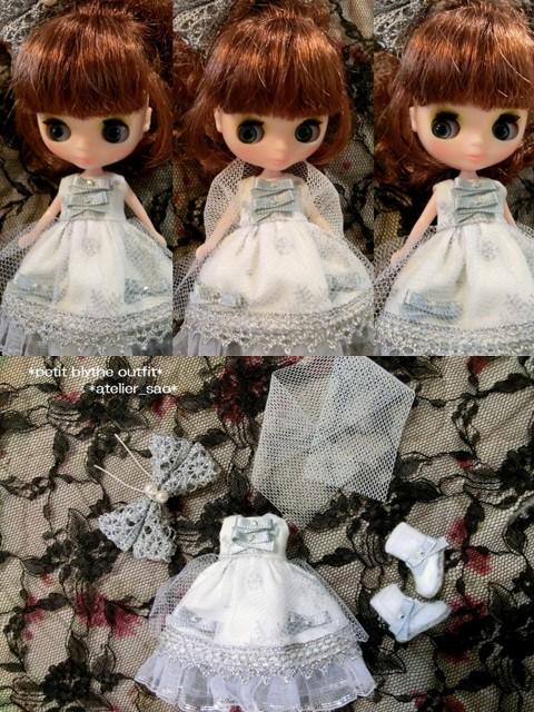◆プチブライス服・靴◆白と銀の雪のクリスマスset◇2
