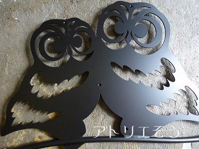 フクロウ2匹妻飾り