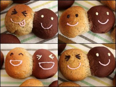 11.01.13りんごとチョコの仲良しパン_色んな顔