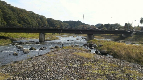 10月27日の黒川と余笹川合流地点鮎釣り3人