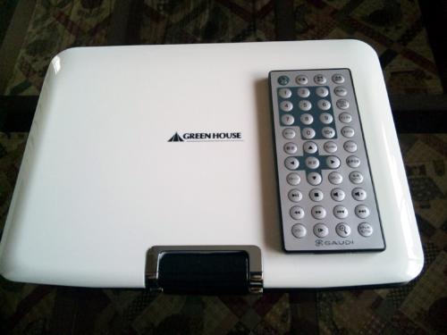 GREEN HOUSE 9型ワイド液晶 CPRM付ポータブルDVDプレーヤー マンセルホワイト