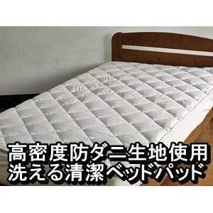 高密度防ダニ生地使用 洗える清潔ベッドパッド クイーン アイボリー