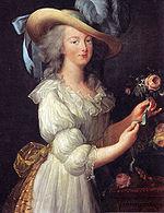 麦藁帽子にモスリンの「田舎風の装い」の王妃マリー・アントワネット(1783年)
