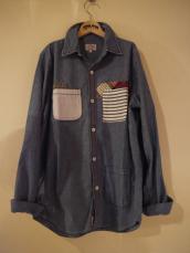 GAIJIN シャンブレーパッチワークL/Sシャツ
