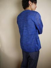 BLUE BLUE JAPAN(OKURA)ギマメン ミナモガスリ5ボタンカーディガン