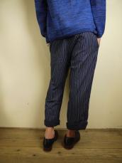 BLUE BLUE JAPAN(OKURA) インディゴバッセンボーダー クロップドパンツ