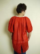 KAPITAL 綿麻ローン パフギャザー燕尾シャツ(5分袖)