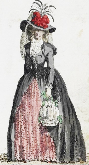 Redingote fashion plate from Galerie des Modes