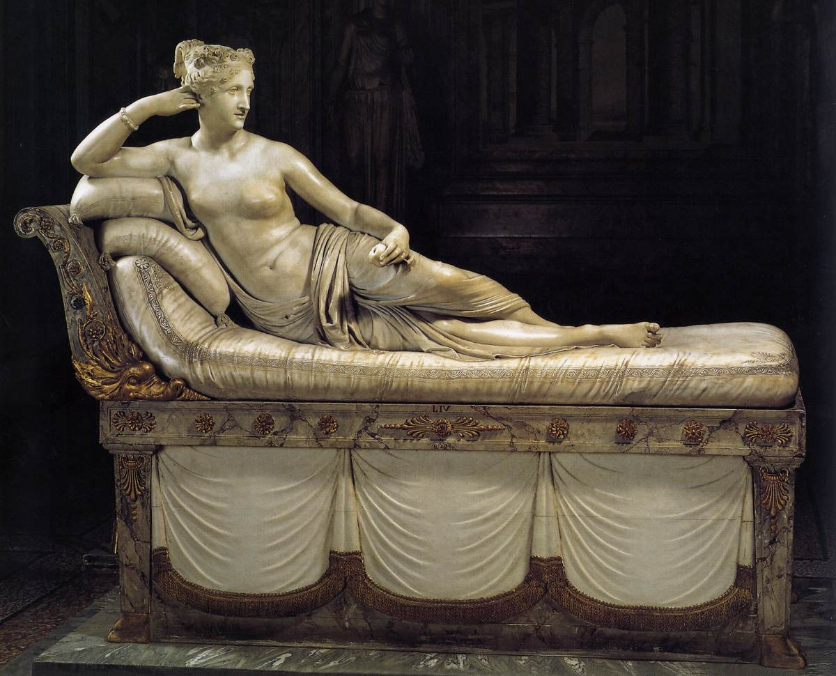 カノーヴァ Paolina Borghese as Venus Victrix 1804-08 White marble 160 x 192 cm Galleria Borghese, Rome