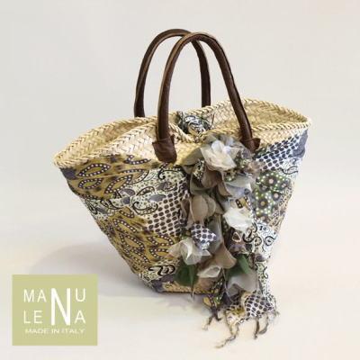 イタリア製・MANU LENAのお花が可愛い籠バック