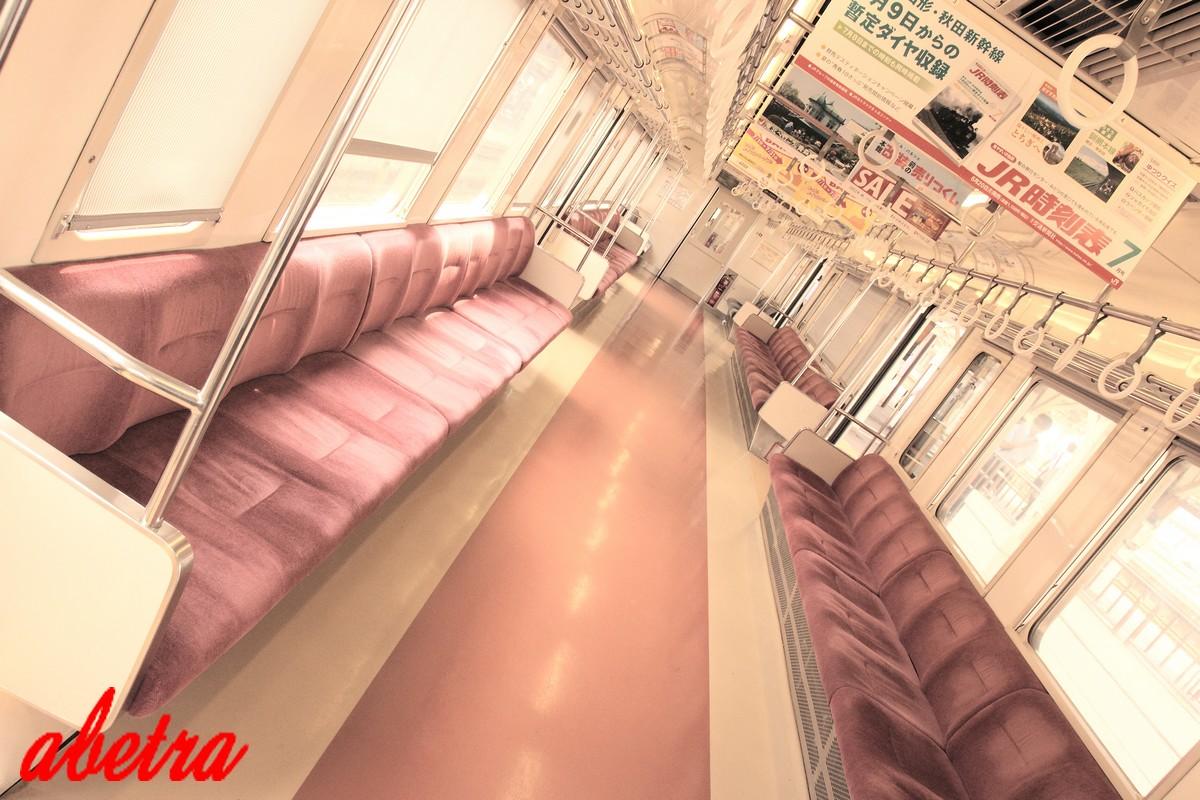 In car of commuter train