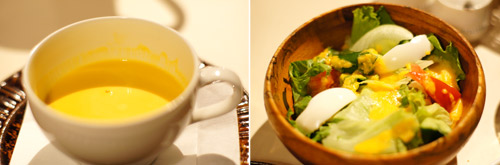 かぼちゃのポタージュスープと地野菜のサラダ