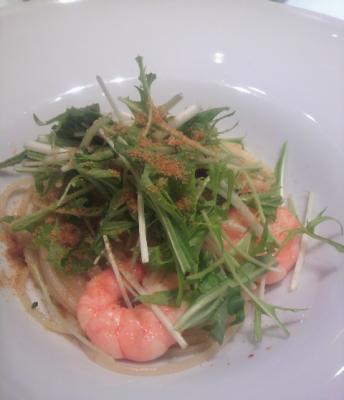 海老と水菜のカラスミ