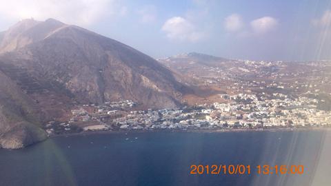 サントリーニ島到着目前