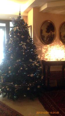 ホテル入り口のクリスマスツリーinアグリジェント